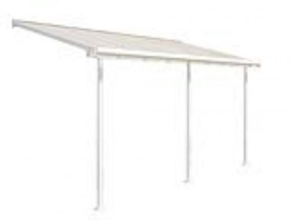 Palram Terrassendach, Balkondach Sierra 230x447 cm weiß inkl. Regenrinnen und Befestigungskit