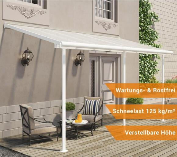 Palram Terrassendach, Balkondach Sierra 230x460 cm weiß inkl. Regenrinnen und Befestigungskit