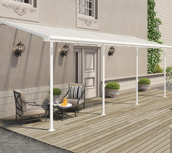 Palram Terrassendach, Balkondach Sierra 230x670 cm weiß inkl. Regenrinnen und Befestigungskit
