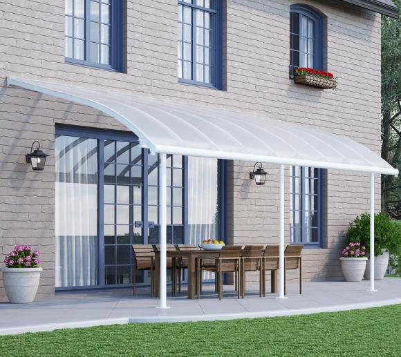 Palram Terrassendach Joya, Terrassenüberdachung 295x555 weiß inkl. Regenrinnen und Befestigungskit