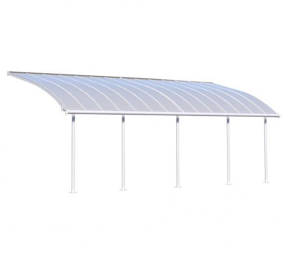 Palram Terrassendach Joya, Terrassenüberdachung 295x860 weiß inkl. Regenrinnen und Befestigungskit