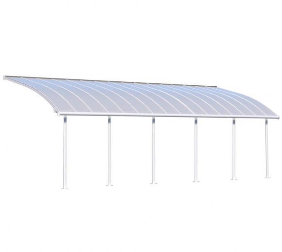 Palram Terrassendach Joya, Terrassenüberdachung 295x924 weiß inkl. Regenrinnen und Befestigungskit