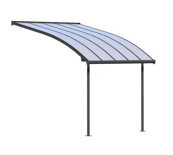 Palram Terrassendach Joya, Terrassenüberdachung 295x314 grau inkl. Regenrinnen und Befestigungskit