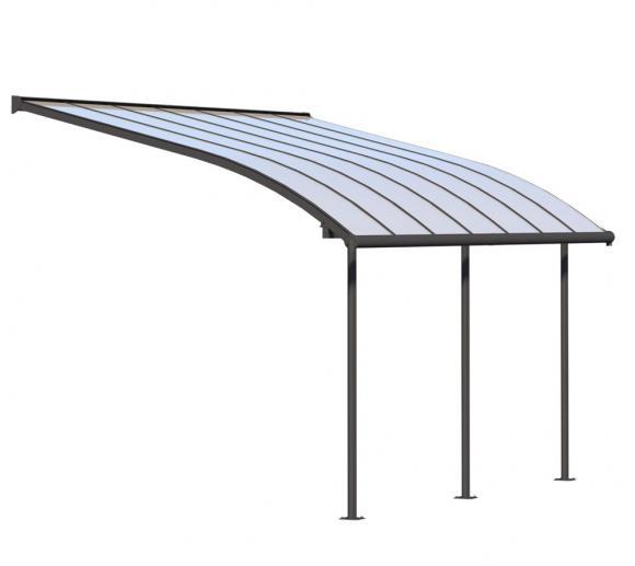Palram Terrassendach Joya, Terrassenüberdachung 295x434 grau inkl. Regenrinnen und Befestigungskit
