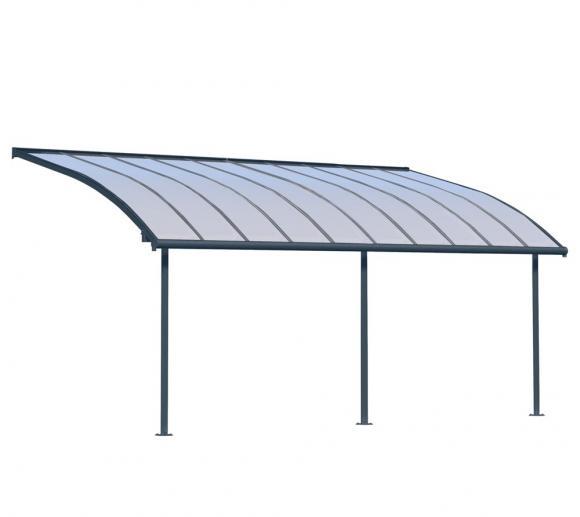 Palram Terrassendach Joya, Terrassenüberdachung 295x619 grau inkl. Regenrinnen und Befestigungskit