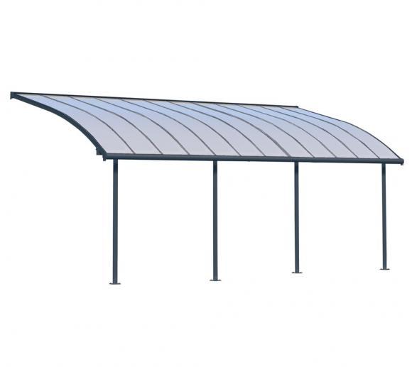 Palram Terrassendach Joya, Terrassenüberdachung 295x739 grau inkl. Regenrinnen und Befestigungskit