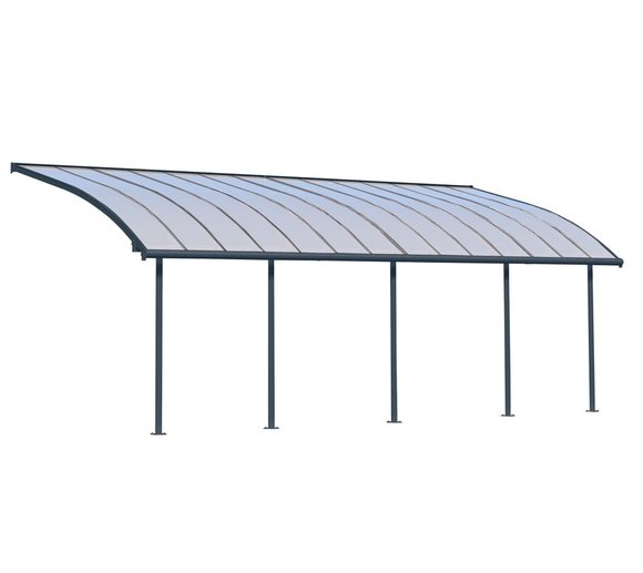 Palram Terrassendach Joya, Terrassenüberdachung 295x860 grau inkl. Regenrinnen und Befestigungskit
