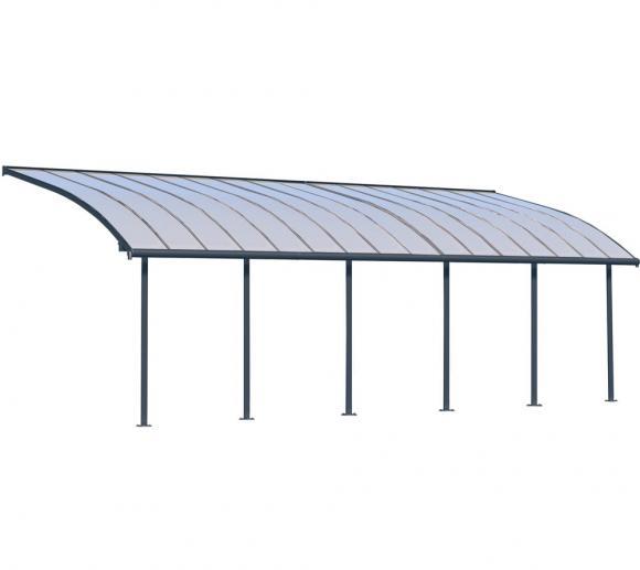 Palram Terrassendach Joya, Terrassenüberdachung 295x924 grau inkl. Regenrinnen und Befestigungskit