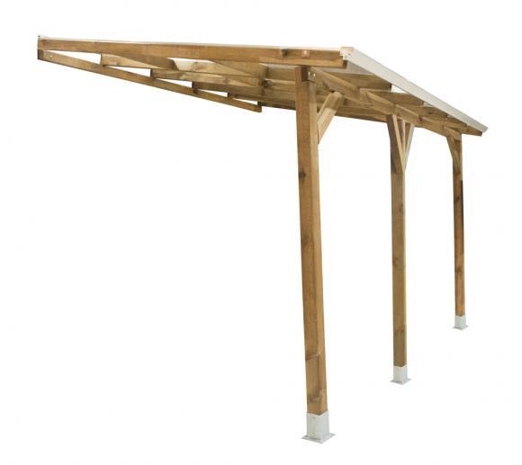 Palram Terrassendach Holz, Terrassenüberdachung Juniper 300x400 cm, natur