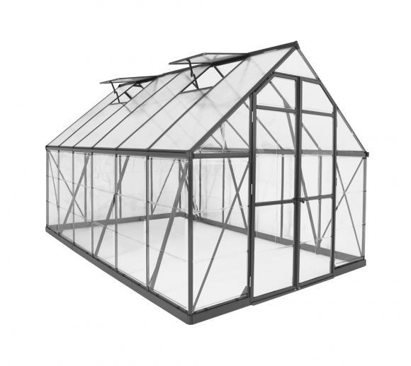 Palram Aluminium Gewächshaus Set Balance 8x12 grau 244x367 cm