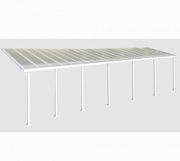 Palram Terrassendach, Terrassenüberdachung 300x1276 cm weiß inkl. Regenrinnen und Befestigungskit