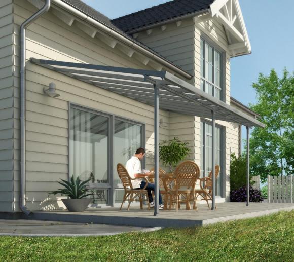 Palram Terrassendach, Terrassenüberdachung 300x851 cm grau inkl. Regenrinnen und Befestigungskit