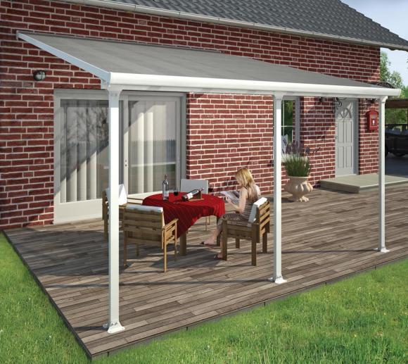 Palram Terrassendach, Terrassenüberdachung 400x425 cm weiß inkl. Regenrinnen und Befestigungskit