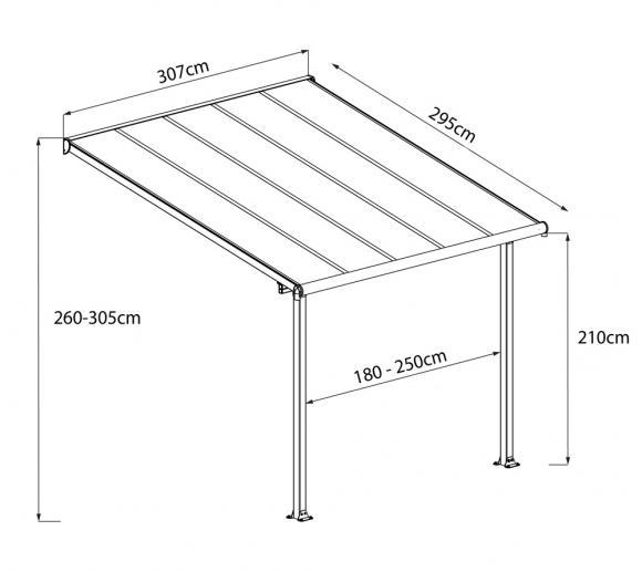 Palram Terrassenüberdachung Olympia 300x305 cm grau ;16mm Doppelstegplatten