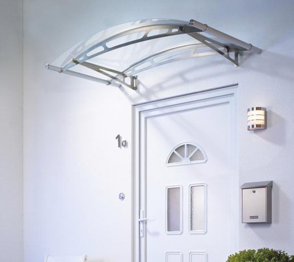 Palram Vordach Leo 1500 klar aus Edelstahl inkl. Regenrinne, 148x91 cm