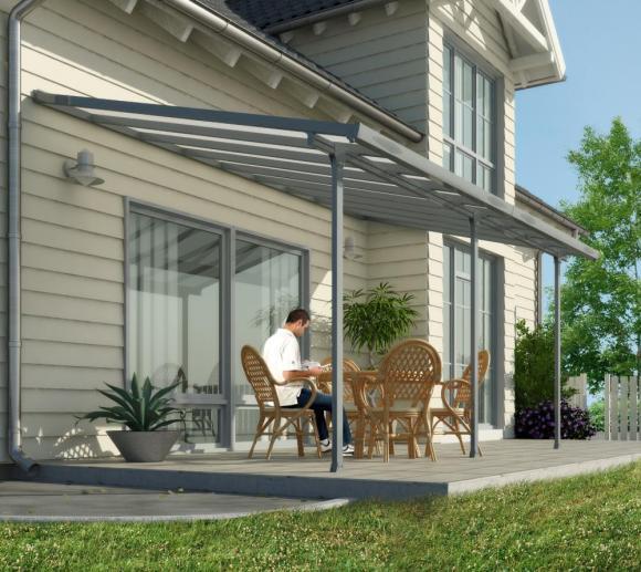 Palram Terrassendach, Terrassenüberdachung 300x1035 cm grau inkl. Regenrinnen und Befestigungskit