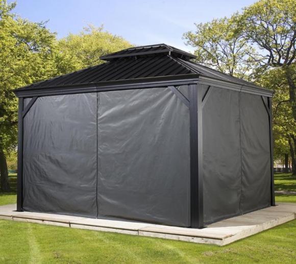 Sojag Pavillon Messina 10x12 Vorhänge Seitenteile Dunkelgrau