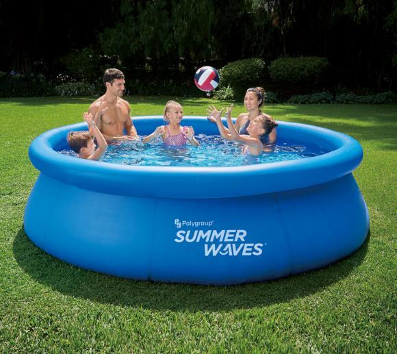 Summer Waves aufblasbarer Quick Pool Swimmingpool Aufstellpool blau Ø305x76 cm