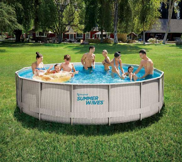 Summer Waves Pool Elite Aufstellpool Swimmingpool Rattan Look Grau Ø457x107 cm