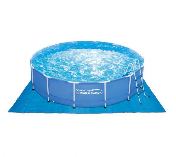 Summer Waves Pool Bodenplane Bodenschutzfolie blau 269x269 cm
