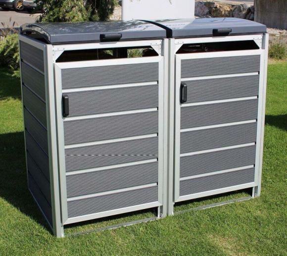 Prewood WPC Mülltonnenbox, Mülltonnenverkleidung 240l grau; 86x152 cm