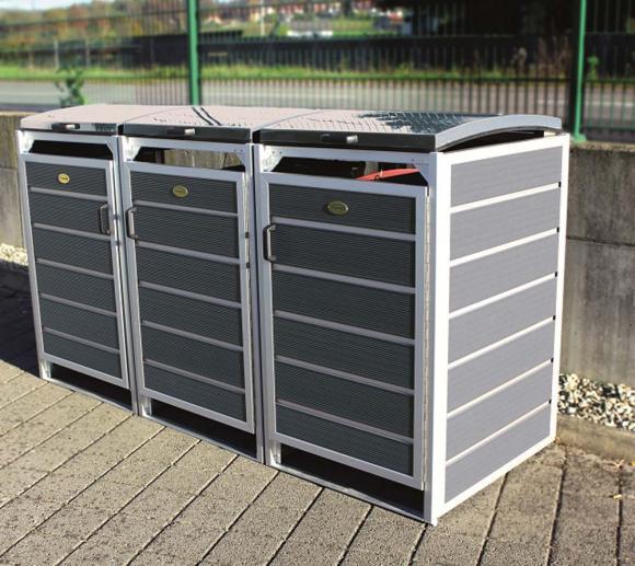 Prewood WPC Mülltonnenbox, Mülltonnenverkleidung 240l grau; 86x228 cm