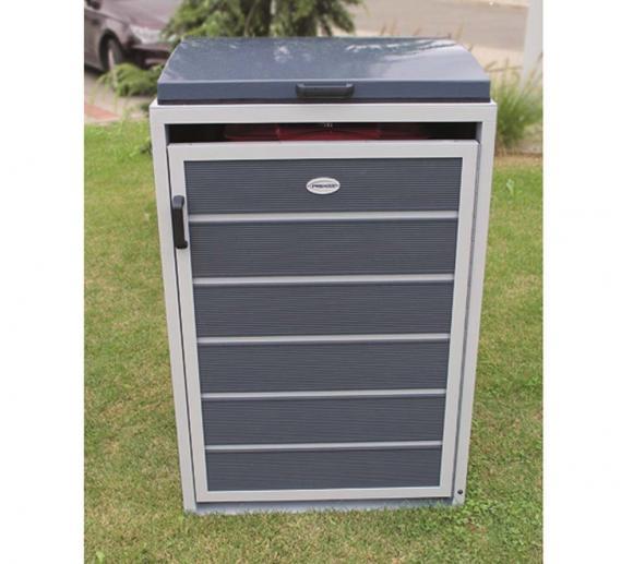 Prewood WPC Mülltonnenbox, Mülltonnenverkleidung 120l grau; 70x68 cm