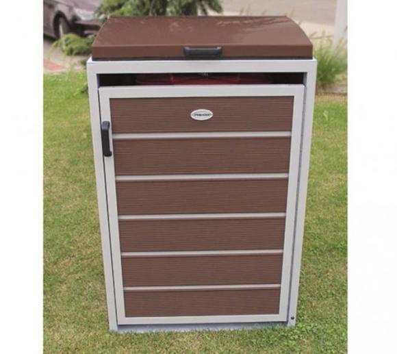 Prewood WPC Mülltonnenbox, Mülltonnenverkleidung 120l braun; 70x68 cm