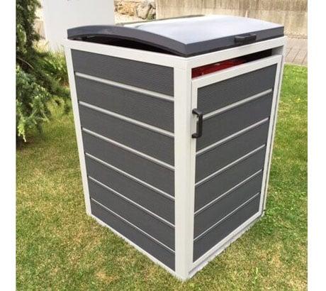 Prewood WPC Mülltonnenbox, Mülltonnenverkleidung 240l grau; 86x76 cm; geschlossen