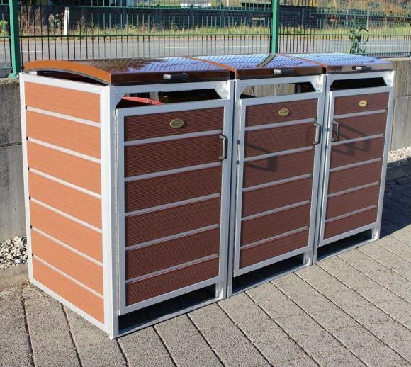 Prewood WPC Mülltonnenbox, Mülltonnenverkleidung 240l braun; 86x228 cm