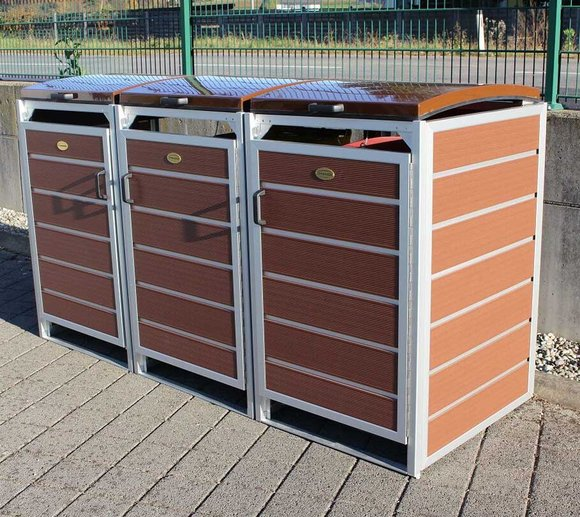 Prewood WPC Mülltonnenbox, Mülltonnenverkleidung 120l braun; 70x204 cm