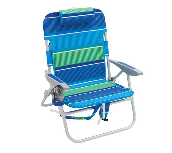 Rio Brands Garten- und Strandstuhl faltbar blau/grün Rucksackstuhl