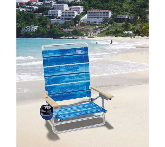 Rio Brands Deluxe Strandstuhl Klappstuhl Campingstuhl Blau