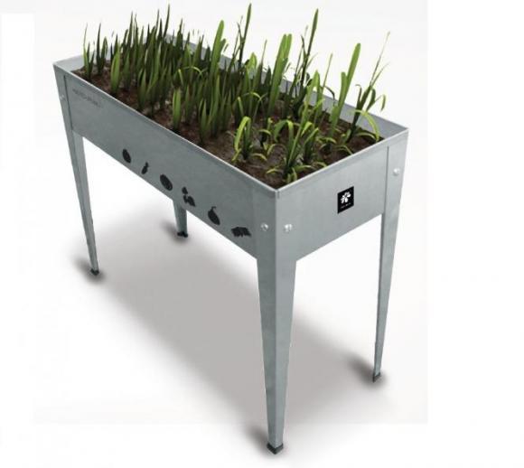 Herstera Garden Hochbeet Urban Silber inkl. spezieller Bodenplatte