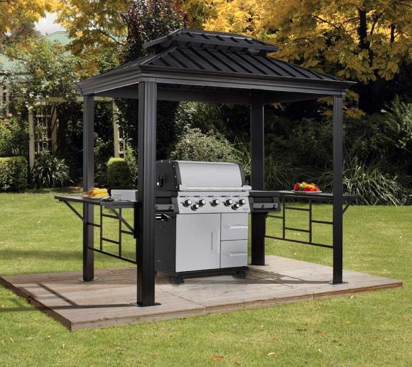 Sojag Aluminium BBQ Grill Pavillon Messina inkl. Rauchauslass 6x8 179x292 cm