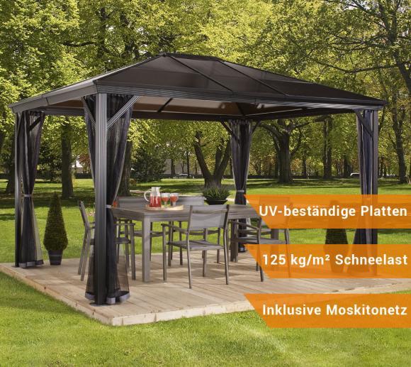 Sojag Aluminium Pavillon Gazebo Verona 10x14 inkl. Moskitonetz; 298x423 cm