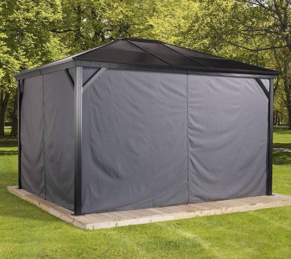 Sojag Pavillon Verona 10x10 Vorhänge Seitenteile Dunkelgrau