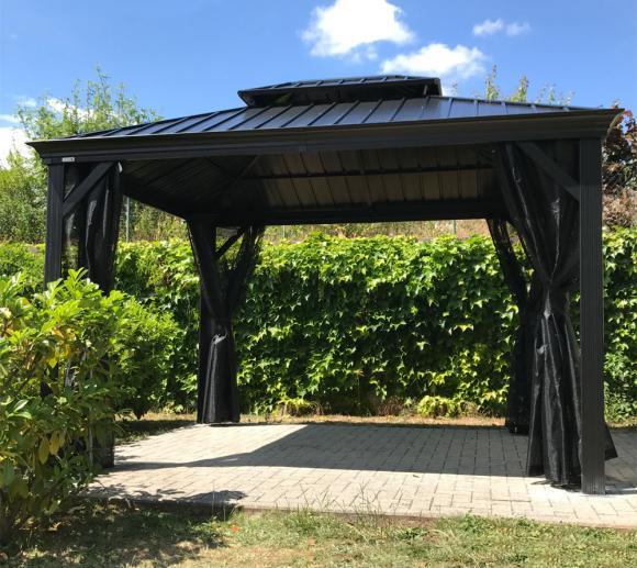 Sojag Aluminium Pavillon Gazebo Messina 10x12 inkl. Moskitonetz 298x363 cm