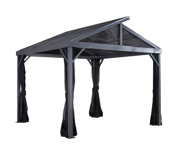 Sojag Aluminium Carport & Pavillon South Beach 12x12 inkl. Moskitonetz 363x363 cm