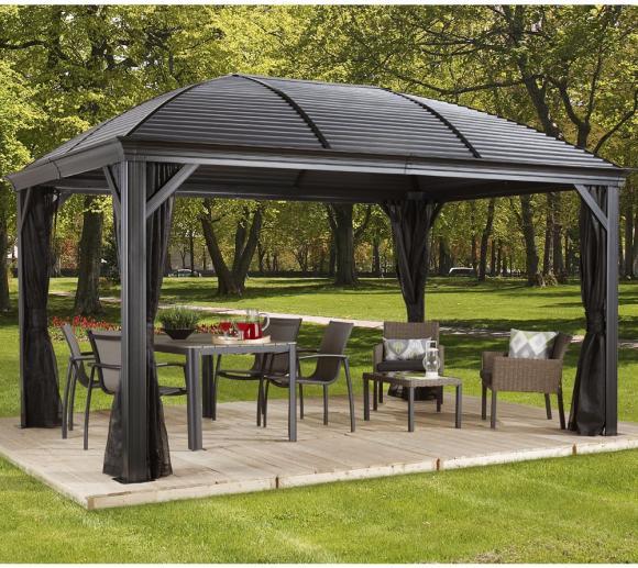 Sojag Aluminium Pavillon Gazebo Moreno 10x14 inkl. Moskitonetz 298x423 cm