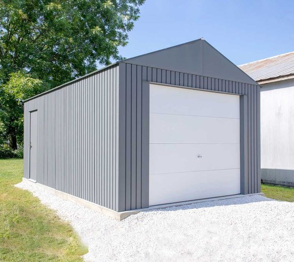 Sojag Everest Stahl Fahrradgarage 3,7 x 3,1 m Gerätehaus anthrazit 10,8 m²