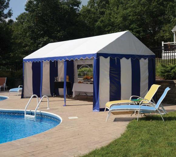 ShelterLogic Partyzelt, Festzelt und Pavillon weiß/blau, 305x610 cm