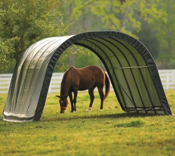 ShelterLogic Run-In-Shed Weidezelt Weideunterstand 24,4m², 400x610 cm