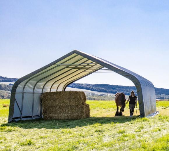 ShelterLogic Run-In-Shed Weidezelt Weideunterstand 49,6m², 680x730 cm