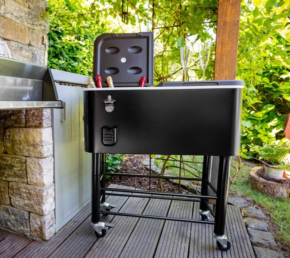 Rio Brands Kühlbox 78x39x103 cm schwarz inkl. Rollwagen
