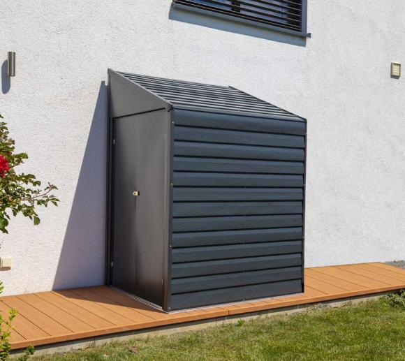 Spacemaker Metallgerätehaus Anlehnhaus, Fahrradgarage grau, 203x124 cm