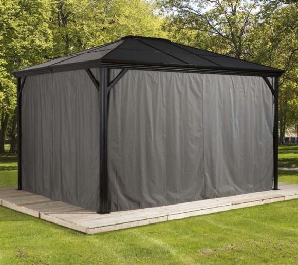 Sojag Pavillon Cambridge 10x12 Vorhänge Seitenteile Dunkelgrau