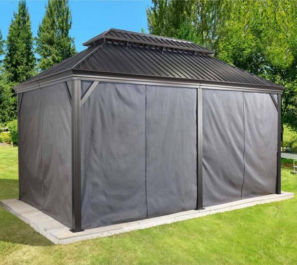 Sojag Pavillon Messina 12x20 Vorhänge Seitenteile Dunkelgrau