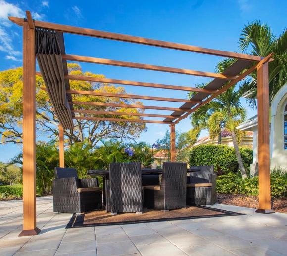 Aluminium Pavillon Florida, Pergola, Sonnenschutz 350x350 cm