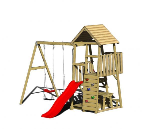 Wendi Toys Spielturm Flamingo Stelzenhaus Kletterturm inkl. Rutsche, Schaukel & Kletterwand